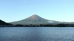 Mount Fuji Lake Kawaguchi Water Lapping Summer Morning No Snow Centered HD 30fps Stock Footage