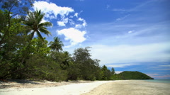 Remote sandy beach in National Park of Daintree Rainforest with tropical Stock Footage