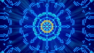 Blue abstract background, kaleidoscope shapes and rays light, loop Stock Footage