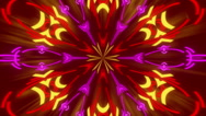 Red abstract background, kaleidoscope shapes and rays light, loop Stock Footage