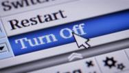 Turn Off. My own design of program menu. Stock Footage