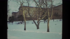 1978: winter snowscape sunset building LAS VEGAS Stock Footage