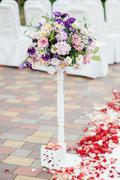 Vase of flowers wedding ceremony in park Stock Photos