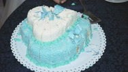 Beautiful wedding cake in the shape of a heart Stock Footage