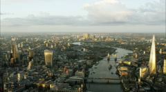 Aerial view of the River Thames and Shard Skyscraper London UK Stock Footage