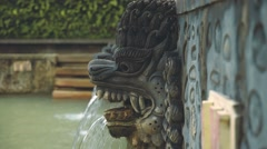 Holy hot springs Air Panas Banjar in North Bali, dragon heads close up Stock Footage