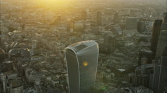 Aerial sunset view of Walkie Talkie building in the capital city of London UK Stock Footage