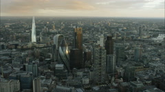 Aerial view at sunset of the Shard and Gherkin Building in the city London UK Stock Footage