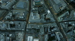 Aerial view of rooftops of buildings in inner city London England Stock Footage