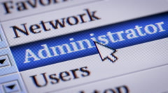 Administrator. My own design of program menu. Stock Footage