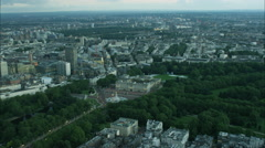 Aerial view of the Royal Family residence Buckingham Palace and Mall in England Stock Footage