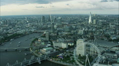 Aerial view of London Eye and Shard building in capital city UK Stock Footage