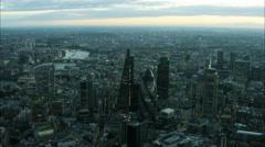 Aerial cityscape view of the Walkie Talkie and Gherkin Buildings in London UK Stock Footage