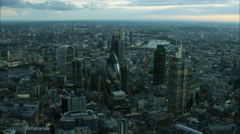 Aerial sunset view of Walkie Talkie and Gherkin Building in city of London UK Stock Footage