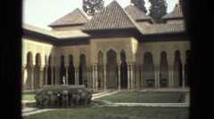 1978: camera footage panning from right to left in courtyard. FRANCE Stock Footage
