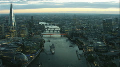 Aerial sunset view of boats on the River Thames in city of London UK Arkistovideo
