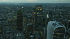 Aerial illuminated view of the Walkie Talkie Building and Shard in London UK Stock Footage