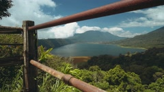 Lake and mountain view from a view point, Buyan Lake from behind a fence Stock Footage