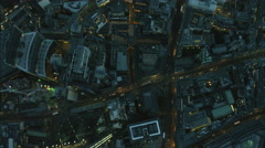 Aerial overhead view at night of the Walkie Talkie Building in London UK Stock Footage