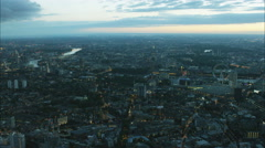Aerial sunset view of London Eye and cityscape of capital city England UK Stock Footage