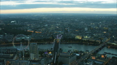 Aerial sunset view of the London Eye and River Thames in capital city UK Stock Footage