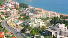 Luxury hotels Splendid, Mediteran and Iberostar Bellevue in Budva, Montenegro Stock Footage