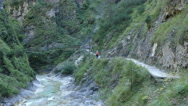 4K The Alps Berchtesgaden national park Almbachklamm Gorge hikers hiking trail Stock Footage