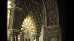 1978: ornate architecture building interior design stone construction arches Stock Footage