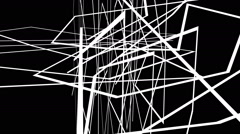 Abstract  motion graphics on black background with  cross white lines Stock Footage