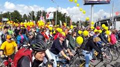 People take part in Bike Parade Stock Footage