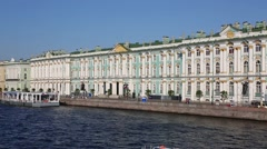 View of the Neva River, Palace Embankment, the Winter Palace Stock Footage
