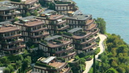 Complex of luxury villas on the cape Zavala in Budva, Montenegro Stock Footage