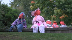 Halloween decorations in town of Meaford Stock Footage