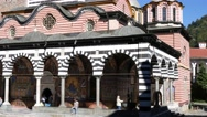 Beautiful building of male friary Rila Monastery of Bulgarian church Stock Footage