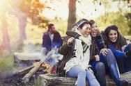 Friends laughing roasting marshmallows at campfire Stock Photos
