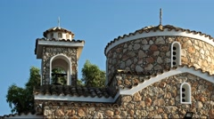 Christian church on the hill front view. Cyprus Stock Footage