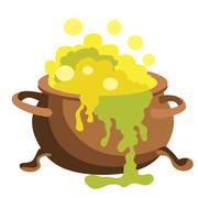 Witch bucket of boiling green liquid magic. Potion for Halloween Stock Illustration