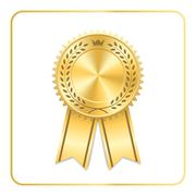 Award ribbon gold icon laurel wreath crown Stock Illustration