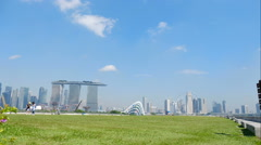 Marina Barrage with moving clouds in Singapore timelapse Stock Footage
