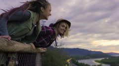 Young Women Spread Their Arms At Scenic Overlook, Above Columbia River Stock Footage
