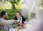 Smiling couple pouring wine at garden party table Stock Photos