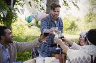 Friends toasting wine glasses at garden party table Stock Photos
