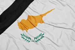 National flag of cyprus with black mourning ribbon Stock Photos