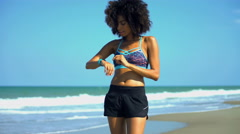 Young active African American female with afro hair enjoying training  Stock Footage