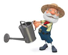 3d illustration the farmer costs with a watering can garden Stock Illustration