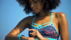 Young attractive African American woman with afro hair enjoying training  Stock Footage