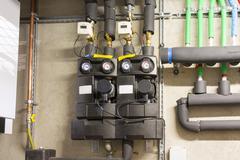 Circulation pump energy-saving in the boiler room Stock Photos