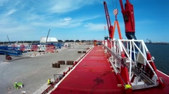 Discharging parts of Crane port of Gdansk  Stock Footage