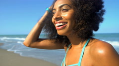 Young active African American woman with afro hair keeping fit and healthy Stock Footage
