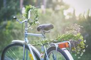 Flowers and garland on bicycle in garden Stock Photos